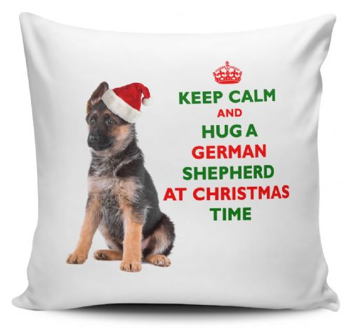 Christmas Keep Calm And Hug A German Shepherd Novelty Cushion Cover